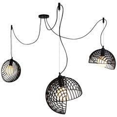 Dana Pendant Light, Black, Cluster of Three, from Souda