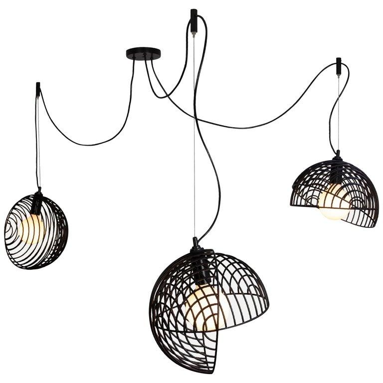Dana Pendant Light, Black, Cluster of Three, from Souda For Sale