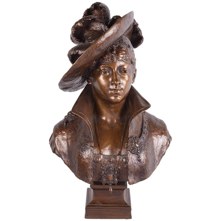 19th Century French Bronze Bust of Classical Lady