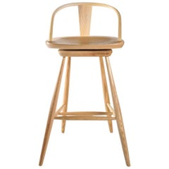 Yoke-Back Swivel Barstool in Ash