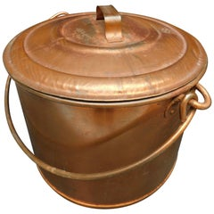 Large Belgian Copper Plated Lidded Metal Cauldron/Log Bucket/Petfood Container
