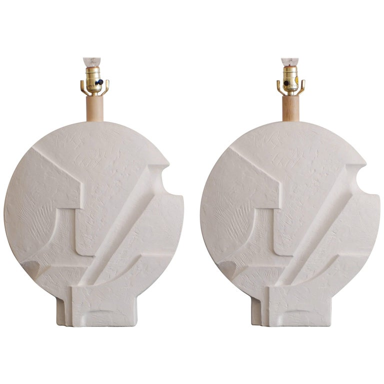 Architectural Brutalist Geometric Pair of Plaster Table Lamps