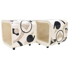 """Pair of Tessellated Stone """"Et Cetera"""" End Tables, 1980s"""