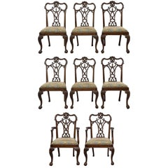 Set Eight 19th Century Hand-Carved Chippendale Tassel Back Dining Chairs