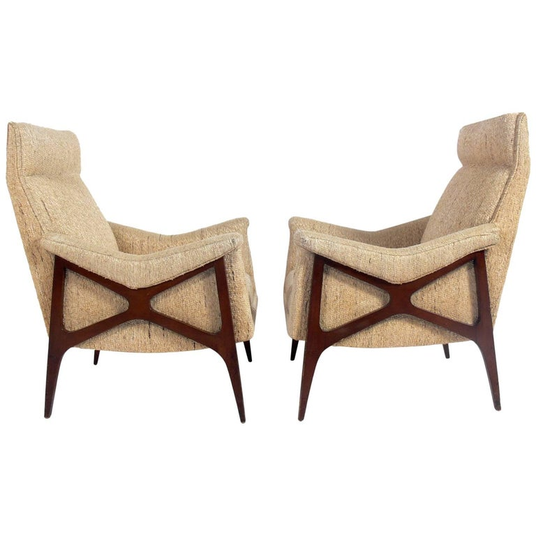 Pair of Sculptural X-Arm Midcentury Lounge Chairs For Sale