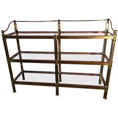Solid Brass Three Shelf Console Display in the Manner of Neoclassical Style