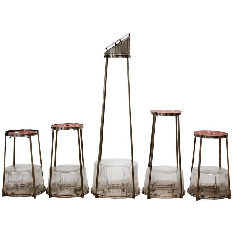 Set of Five Modernist Art Deco Nickel Chandeliers For Sale