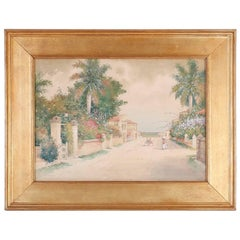 Watercolor of a Tropical Street Scene