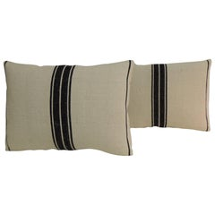 Pair of 19th Century French Black and Natural Woven Stripes Decorative Pillows