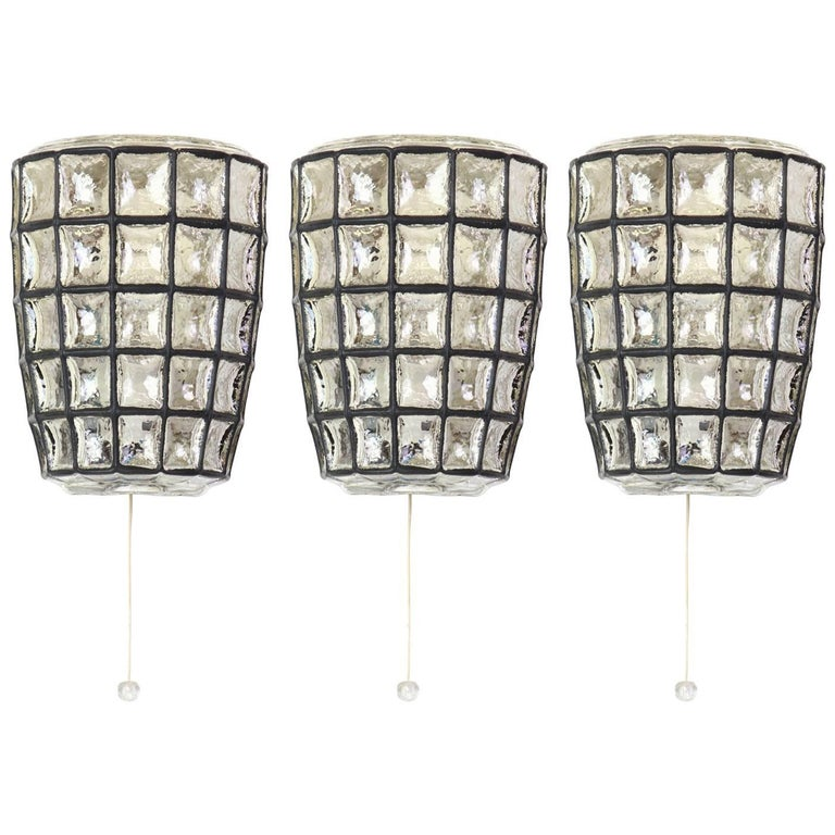 1 of 3 Wall Lights Sconces Iron Glass by Limburg, Germany, 1960s