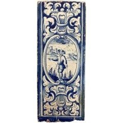 18th Century Dutch Delft Blue and White Glazed Ceramic Stove Tile