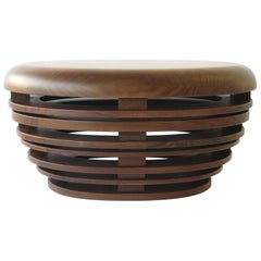 """Egg"" Low Table Cocktail/Coffee Stool Bench in Solid American Walnut"