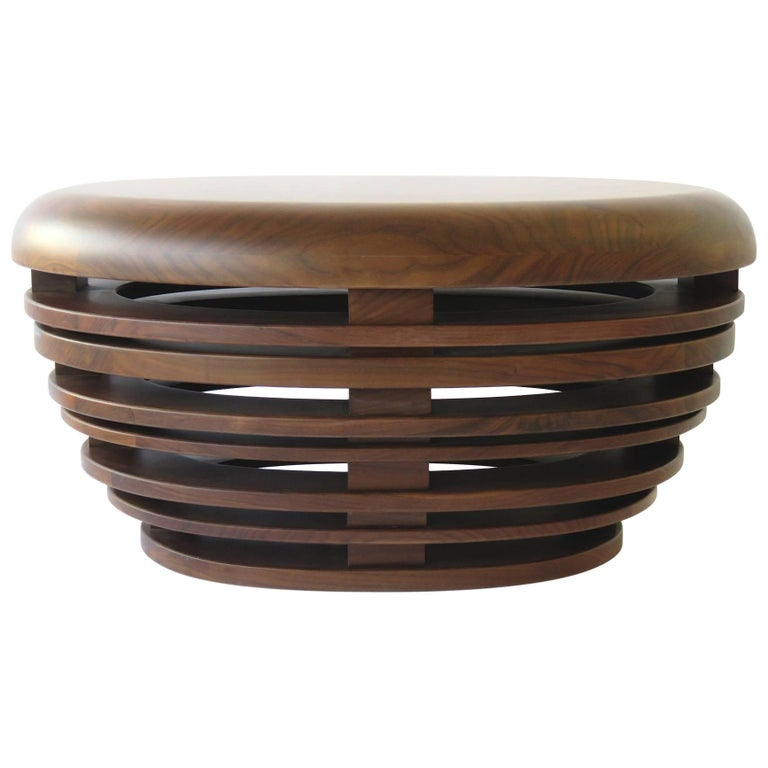 """Egg"" Low Table Cocktail/Coffee Stool Bench in Solid American Walnut For Sale"