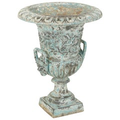 Large Late 18th Century French Cast Iron Urn or Planter Grapes Motif, Blue