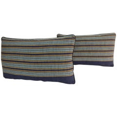 Pair of Vintage Japanese Blue and Gold Obi Stripes Decorative Lumbar Pillows