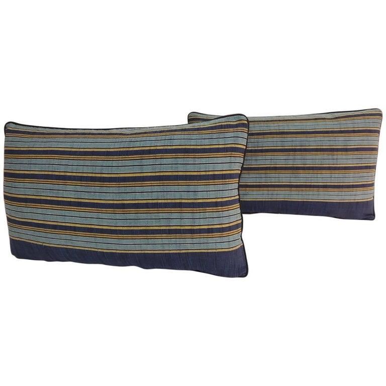 Pair of Vintage Japanese Blue and Gold Obi Stripes Decorative Lumbar Pillows