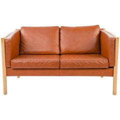 Danish Midcentury Beech and Leather Loveseat