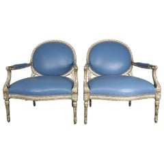 Silver Leaf Neoclassical Style Leather Armchairs, Pair