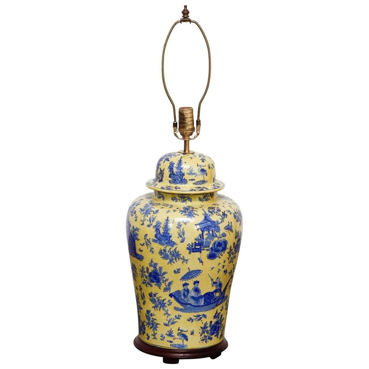 Porcelain Chinoiserie Ginger Jar Lamp by Kinder Harris