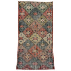 Distressed Vintage Turkish Sivas Rug with Romantic Industrial Art Deco Style