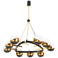 Stilnovo Nine Branch Triangular Brass Chandelier, Italy, 1950s