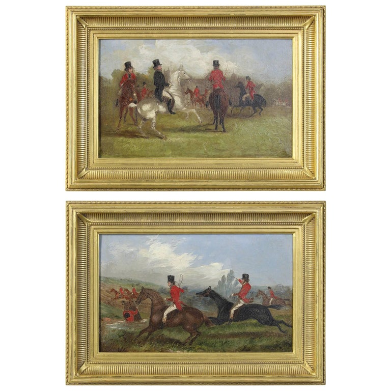 Pair of 19th Century English Sporting Paintings by Richard D. Widdas For Sale