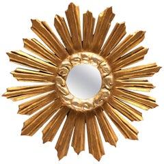 "19th Century French Round Giltwood Mirror ""Soleil"""