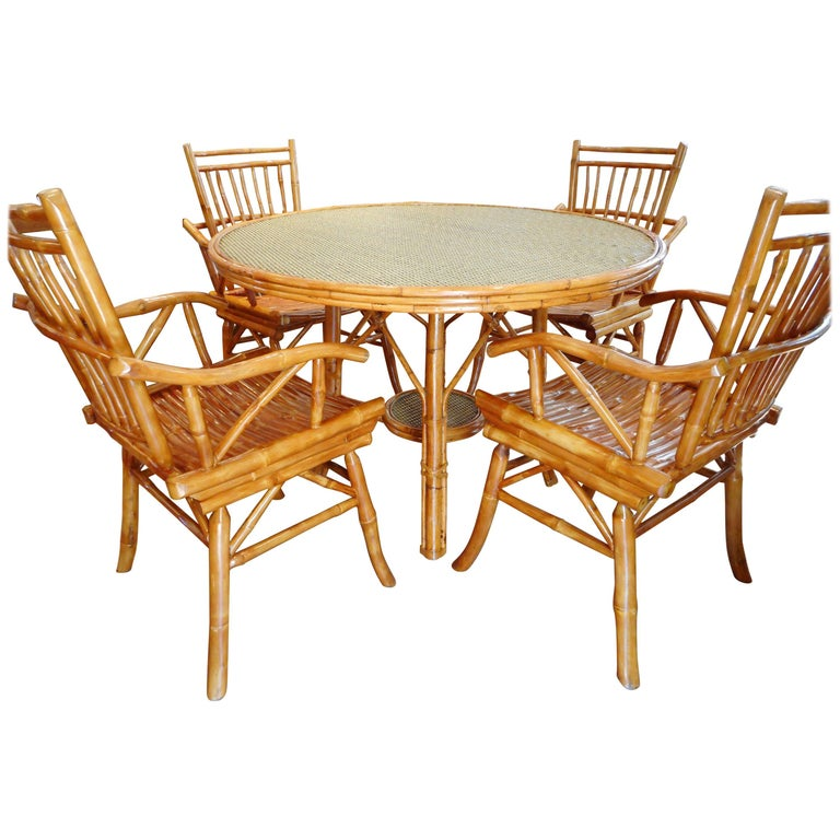 Ficks and Reed Midcentury Bamboo Table and Four Chairs