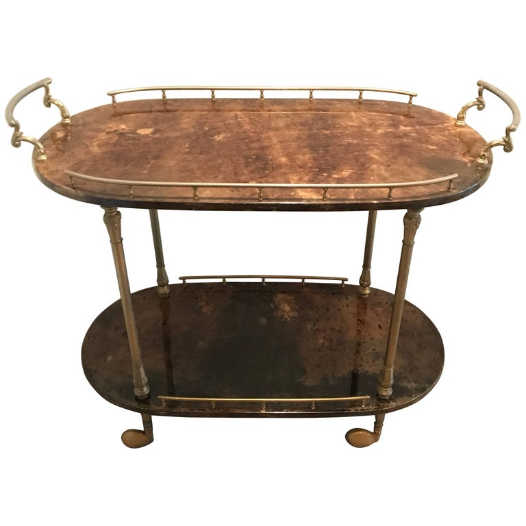 Aldo Tura Brown Goatskin and Brass Bar Cart or Tea Cart or Cocktail Trolley