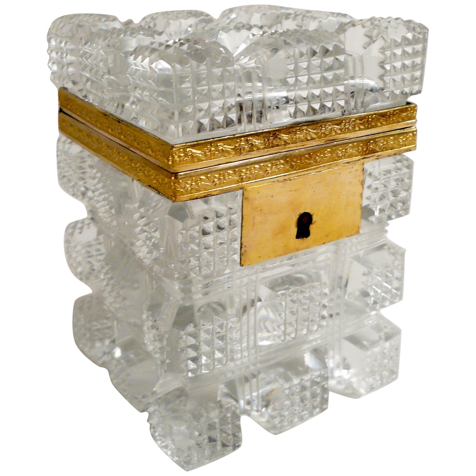 French Gilt Bronze Mounted Cut Crystal Box