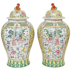 Pair of Large Chinese Porcelain Temple Jars