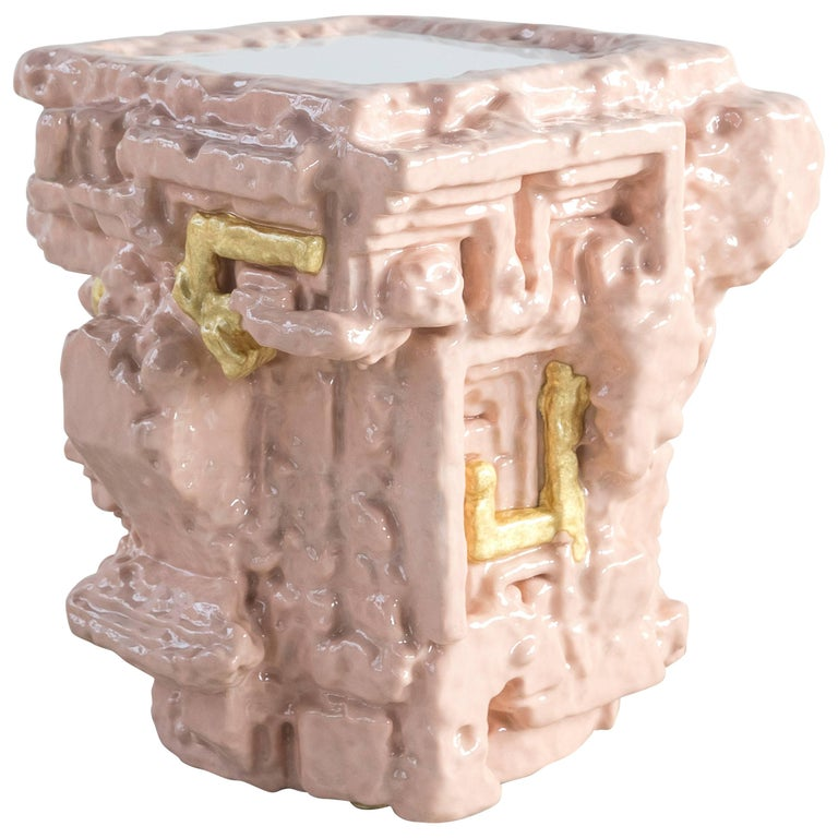 Chris Schanck, 'Fleshbot' Side Table, Pink, Gold, Aluminum, Clay, Resin, 2018