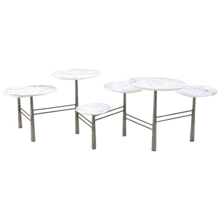 Nada Debs Modern Pebble Low Coffee Table White Marble Stainless Steel Legs For