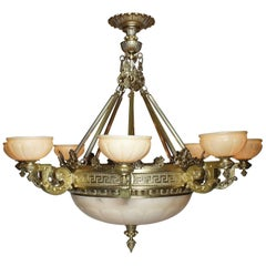 Palatial Greco-Roman Revival Style Gilt-Bronze & Alabaster 8-Light Chandelier