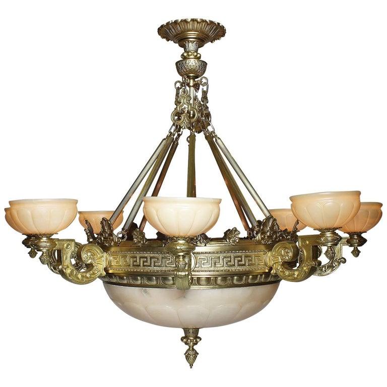Palatial Greco-Roman Revival Style Gilt-Bronze & Alabaster 8-Light Chandelier