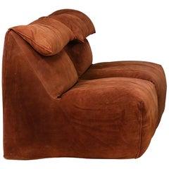 "Mario Bellini ""Le Bambole"" Modular Seating Reverse Leather Sofa for Atelier Int."