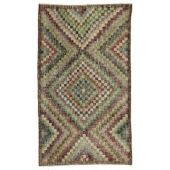 Distressed Sivas Rug with Modern Industrial Art Deco Style, Checkered Rug