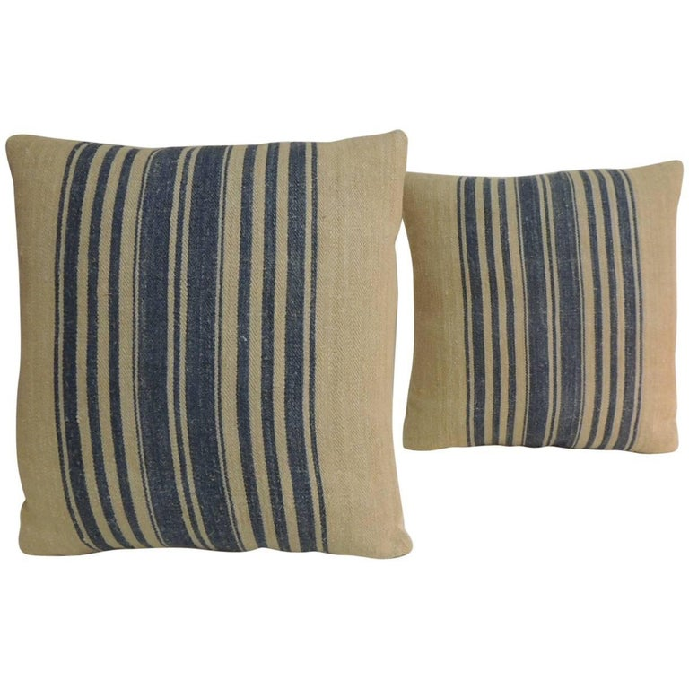 Pair of French Blue and Natural Grain Sack Stripes Decorative Pillows For Sale
