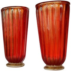 1970' Pair of Cristal Murano Urns Red and Gold Sign Toso