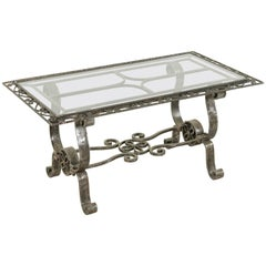 Midcentury French Artisan Made Hand-Forged Iron Coffee Table with Glass Top