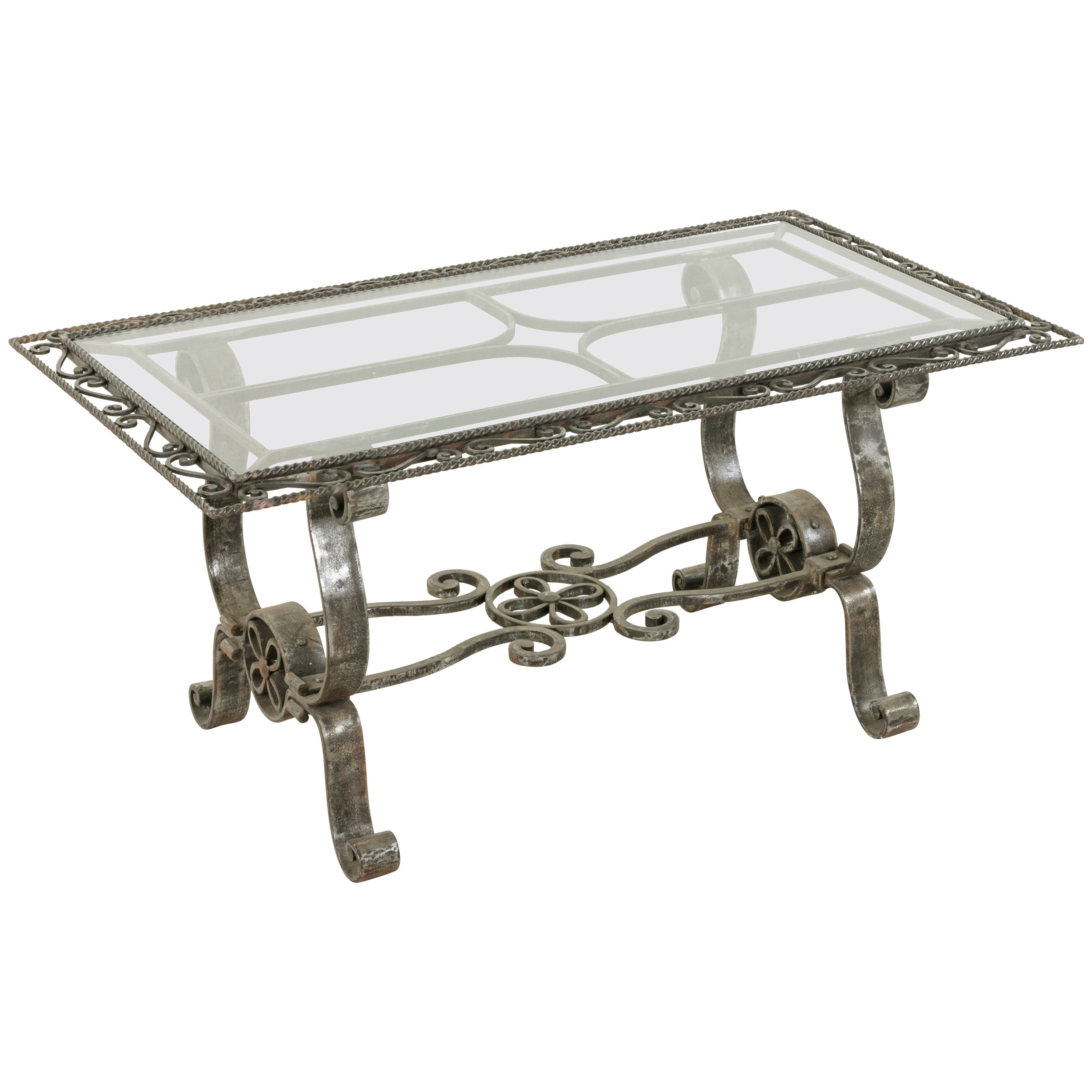 4c9d56bac28ee Midcentury French Artisan Made Hand-Forged Iron Coffee Table with Glass Top  at 1stdibs