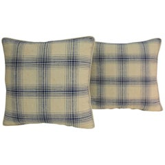 Pair of Blue and Natural Silk Plaid Asian Woven Decorative Pillows