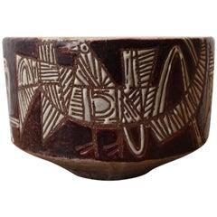 Midcentury, circa 1950, Jean Derval, Ceramic Enameled Bowl, Cup, Birds Pattern