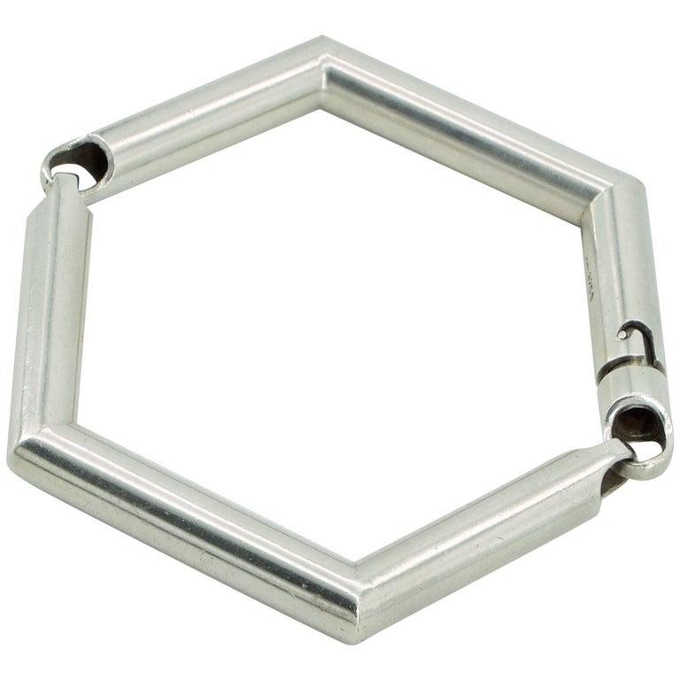 Hans Hansen Sterling Bracelet Bangle Danish Geometric, Mid-Century Modern