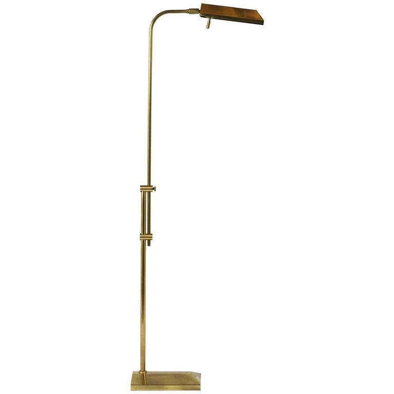 Mid-Century Modern Brass Adjustable Floor Lamp
