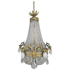 19th Century French Bronze and Crystal Beaded Chandelier