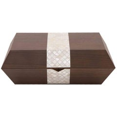 Nada Debs Stripes Cigar Box, Contemporary Gift Box, Walnut / Mother-of-Pearls