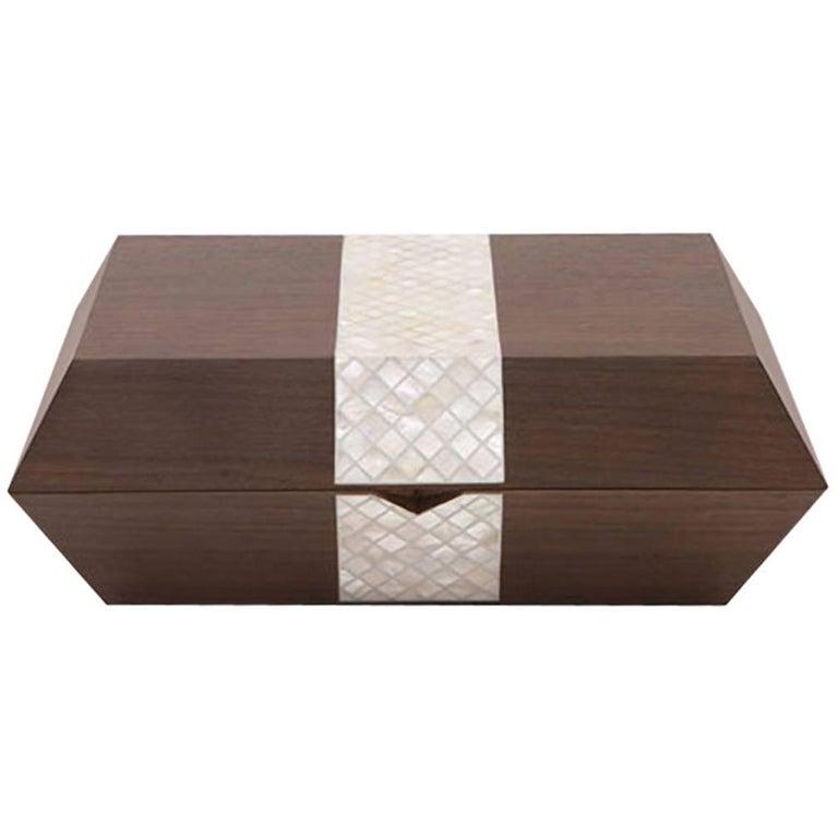 Nada Debs Stripes Cigar Box, Contemporary Gift Box, Walnut / Mother-of-Pearls