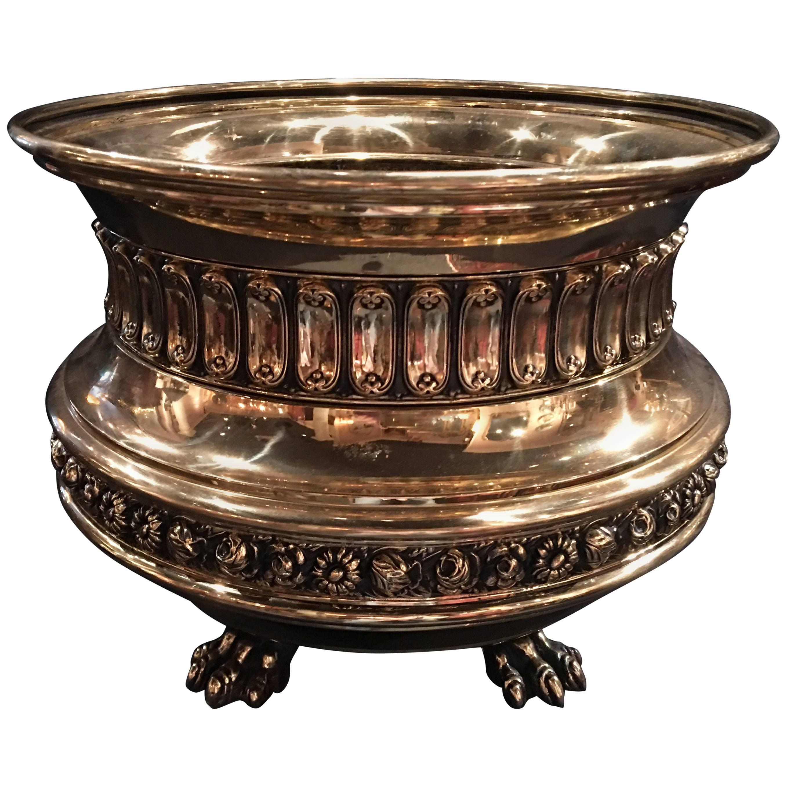 French Polished Brass Jardinière or Planter, 19th Century
