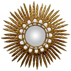 Gold Leaf Giltwood Sunburst Convex Mirror